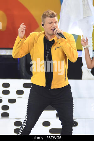 New York, NY, USA. 13th July, 2018. Nick Carter of The Backstreet Boys perform on ABC's Good Morning America at Rumsey Playfield in Central Park, New York City. Credit: July 13, 2018. Credit: John Palmer/Media Punch/Alamy Live News - Stock Photo