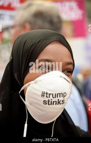 London, UK. 13th July 2018. Protest march against the UK visit by US President Donald Trump, London, UK Credit: Finnbarr Webster/Alamy Live News - Stock Photo