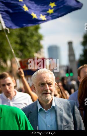 London, UK 13th July, 2018. Jeremy Corbyn walks to Trafalgar Square down Whitehall. Andy Barton/Alamy Live News - Stock Photo