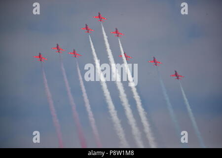 Fairford, UK. 13th July 2018. On the first day of the annual Royal International Air Tattoo at RAF Fairford in Gloucestershire thousands of gathered to watch the greatest display of military planes in the UK. Credit: Uwe Deffner/Alamy Live News - Stock Photo