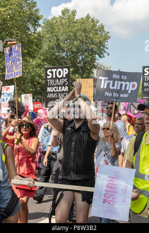 London, UK, 13 July 2018. Whitehall, London, UK; 13th July 2018; Protests Against the Visit of US President Trump to the UK Credit: Ian Stewart/Alamy Live News - Stock Photo