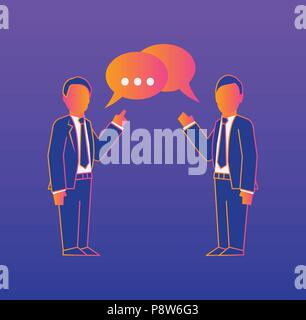 Communication Gradient illustration on violet background - Stock Photo