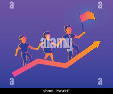 Success Gradient illustration on violet background - Stock Photo