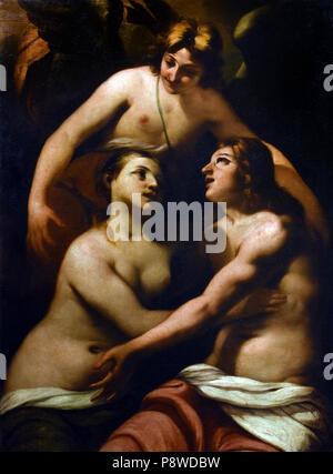 Adamo ed Eva in Paradiso - Adam and Eve in Paradise by Antonio Zanchi 1631 –  1722 Italian painter of the Baroque,  Venice, Italy, Italian. - Stock Photo