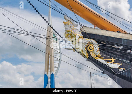 HMS Warrior figurehead and Spinnaker Tower, Portsmouth - Stock Photo