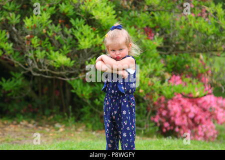 Young girl throwing a tantrum - Stock Photo