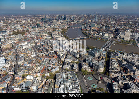 London Aerial view looking East over Covent garden - Stock Photo