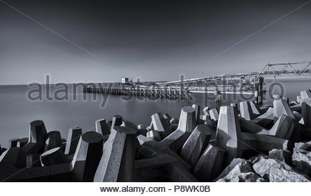 Raynes Jetty, Llanddulas, Colwyn Bay, Wales - Stock Photo