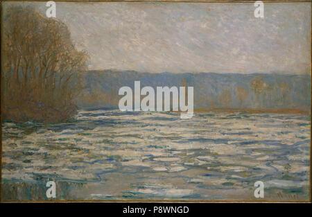 .   81 Claude Monet - Ice breaking up on the Seine near Bennecourt - - Stock Photo