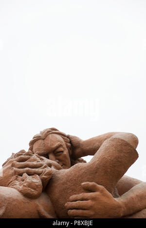 LIMA, PERU - DECEMBER 30, 2017: Detail of sculpture El Beso (The Kiss) in Parque del amor in Lima, Peru. Sculpture was made by Victor Delfin in 1993. - Stock Photo