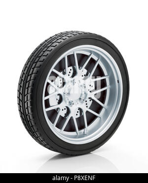 Car wheel isolated on white background. Clipping path - Stock Photo