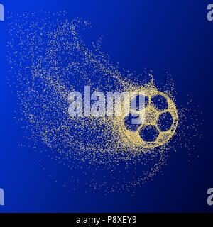 silhouette of a soccer ball from particles. Soccer ball. gold - Stock Photo