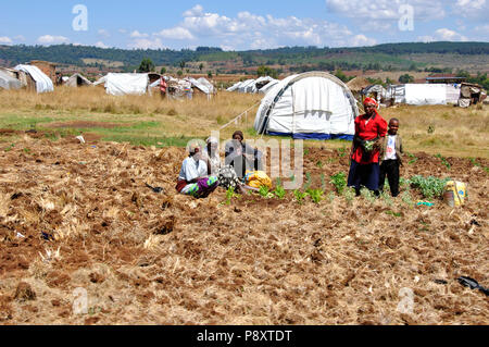 Kenya Red Cross Refugie Camp in Eldoret, Rift Valley, where more than 100'000 people are still living in weak conditions. - Stock Photo