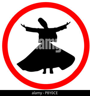 Whirling Dervishes Ceremony caution warning red triangular road sign isolated on white background. - Stock Photo