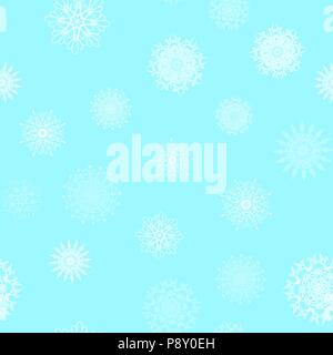 Christmas abstract background from white snowflakes on blue. Seamless pattern for design cards, posters, greeting for the new year. Vector illustratio - Stock Photo