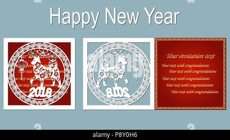 Chinese Zodiac Symbols On Red Paper Background Stock Vector Art