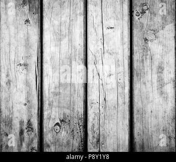 Weathered wooden texture background in black and white - Stock Photo