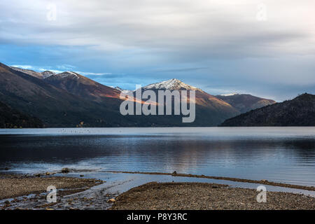 Autumn Colors in Lake Guillelmo sits near Villa Mascardi, Bariloche, Patagonia, Argentina - Stock Photo