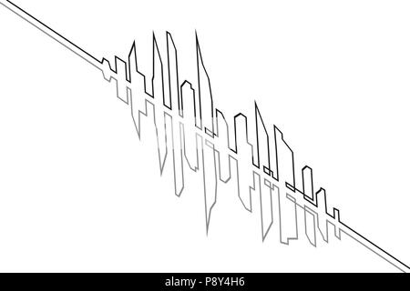 Silhouette of the city in a flat style. Modern urban landscape. Vector illustrations. City skyscrapers building office horizon.Continuous line drawing. isometric - Stock Photo