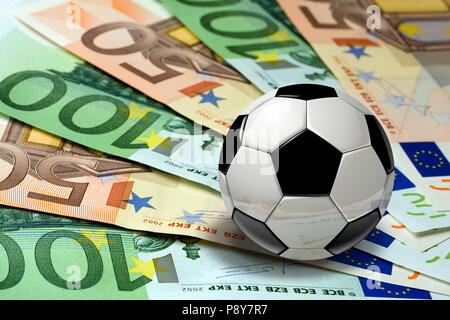 Soccer Ball on euro banknotes concept - Stock Photo