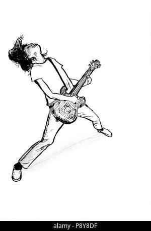 Ink drawing man plays electric guitar