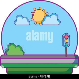 traffic lights in the road with sun and clouds vector illustration - Stock Photo
