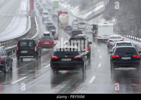 Schleiz, Germany, slow traffic on the A9 motorway after snowfall - Stock Photo