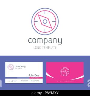 Business card design with compass company logo vector  For web