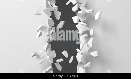 vector illustration of exploding wall with free area on center for any object or background - Stock Photo