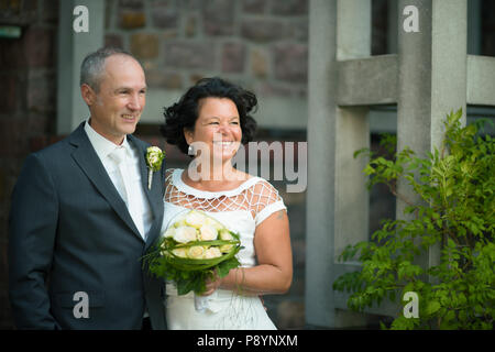 Old aged elderly marriage couple on  Wedding day old bride and groom bridegroom aged love marriage old marrying couple - Stock Photo
