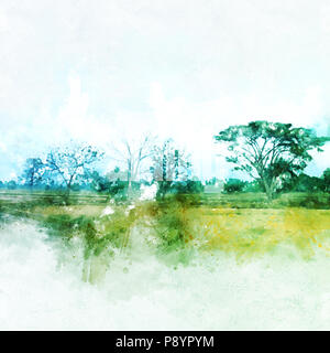 Abstract tree and field landscape watercolor painting background. - Stock Photo