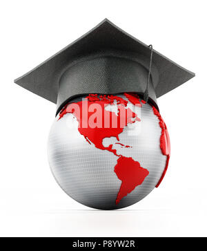 Graduation cap on red and gray colored globe. 3D illustration. - Stock Photo