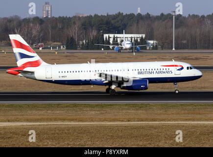 Berlin, Germany, Airbus A320 of the British Airways airline on the runway of the Berlin Tegel Airport - Stock Photo