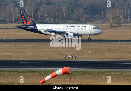 Berlin, Germany, Airbus A319 of the airline Brussels Airlines on the runway of the airport Berlin-Tegel - Stock Photo