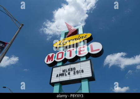 Restored neon sign outside of The Lorraine Motel, where Martin Luther King was shot, has been restored as the national civil rights museum in Memphis