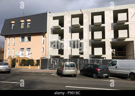 Berlin, Germany, shell of an apartment building in Friedrich-Karl-Strasse - Stock Photo