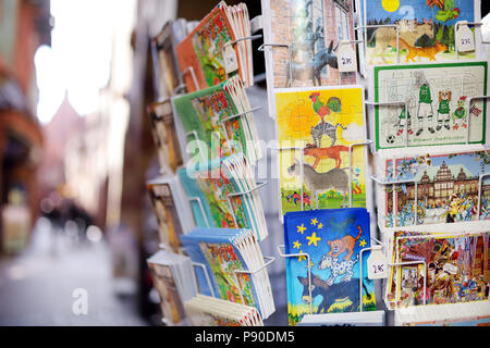 BREMEN, GERMANY - MARCH 23, 2013: Various postcards from Bremen displayed at souvenir shop - Stock Photo