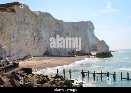 Seven Sisters Cliffs, South Downs National Park, East Sussex, UK. Day walk from Seaford to Eastbourne - Stock Photo