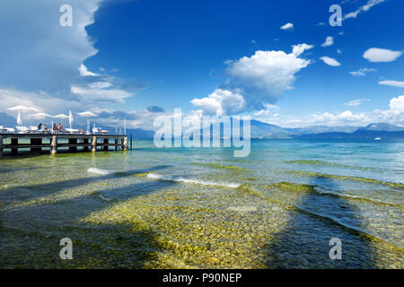SIRMIONE, ITALY - SEPTEMBER 19, 2016: Beautiful views of Sirmione, a comune in Brescia. It has a historical centre located on the Sirmio peninsula tha - Stock Photo