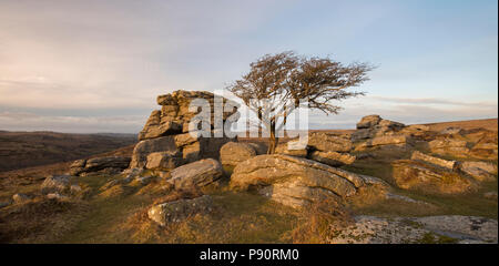 Sunset at Holwell Tor on Dartmoor. - Stock Photo