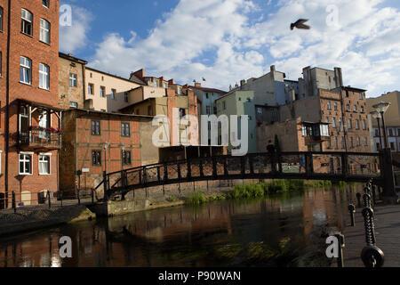City of Bydgoszcz in Poland, bridge. Historic part of the city of Bydgoszcz, - Stock Photo