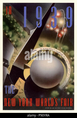 'The New York World's Fair in 1939'  poster by Nembhard N. Culin (1908-1990) published in 1937 showing an aerial view of the Trylon and Perisphere which formed the center piece of the International Exposition that took place from 30 April 1939  until 31 October 1940 in Flushing Meadows in New York City. See more information below. - Stock Photo