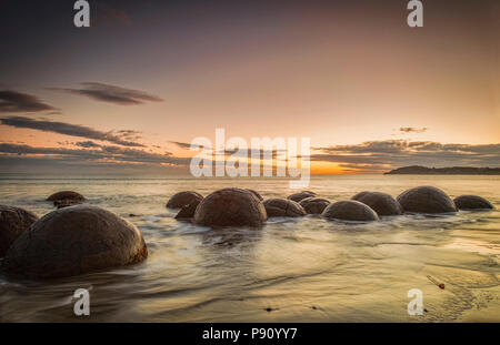 The famous Moeraki Boulders, an icon of New Zealand, in Otago, at sunrise. - Stock Photo