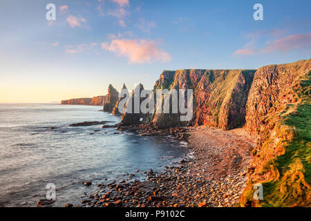 Sunrise at Stacks of Duncansby, Duncansby Head, John o' Groats,Caithness, Scotland, UK - Stock Photo