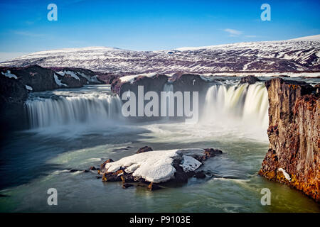 Godafoss, the Waterfall of the Gods, a major tourist attraction in Iceland. - Stock Photo