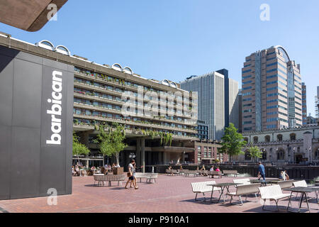 Lakeside Terrace, Barbican Estate, Barbican, City of London, Greater London, England, United Kingdom - Stock Photo