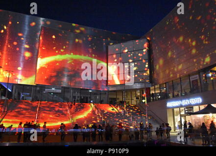 Sydney Australia - May 25, 2018. The futuristic sails of The Concourse in Chatswood performing arts centre during Vivid. Large-scale projections of NA - Stock Photo