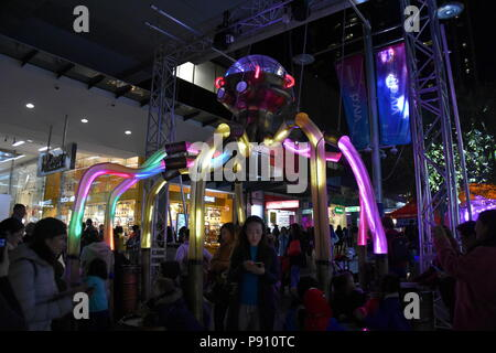 Sydney Australia - May 25, 2018. Octopoda invites audiences to become part of his tentacle percussion ensemble in Chatswood. Vivid Sydney is a free an - Stock Photo