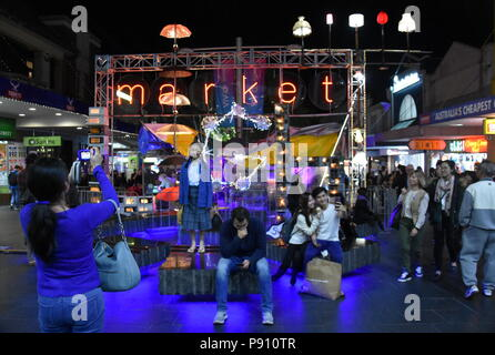 Sydney Australia - May 25, 2018. Light Market hosts with the finest tastes from around the world to satisfy all of your senses. Vivid Sydney is a free - Stock Photo