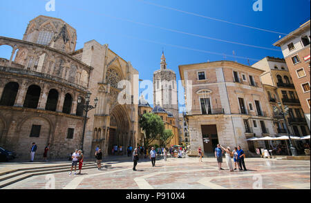 Valencia Cathedral (13th Century) and the Torre Del Micalet at the Plaza de la Almoina in the center of Valencia, Spain - Stock Photo